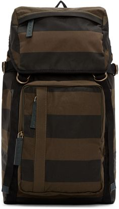 Marni - Green & Black Striped Backpack