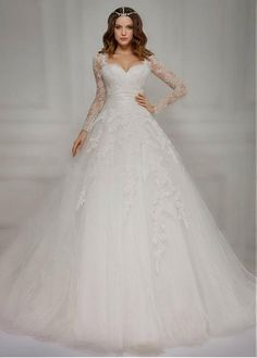 Buy discount Glamorous Tulle Sweetheart Neckline Ball Gown Wedding Dresses  With Lace Appliques at Dressilyme. 860cdcc30562