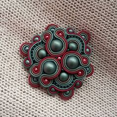 Soutache Pendant, Soutache Necklace, Shibori, Beaded Brooch, Beaded Jewelry, Soutache Tutorial, Brooches Handmade, Ribbon Embroidery, Polymer Clay