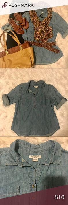 Liz Claiborne 100% cotton denim tunic Liz Claiborne 100% cotton denim tunic. Great condition. Liz Claiborne Tops Tunics