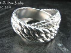 Retired J35258 Judith Ripka Sterling Textured Interlocking Rolling Ring Size 8 #JudithRipka #Rolling