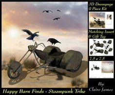 Happy Barn Finds 3D Decoupage Steampunk Trike Insert Tag on Craftsuprint - Add To Basket!