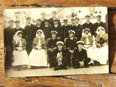 Old WWI Navy HMS Hospital Ship Postcard Red Cross Group Photo