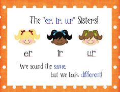 """Here is my take on the """"er, ir, ur Sisters""""…. Hope you like it =) It is listed in my *new* Teacher's Notebook store (just click the picture)…while you are there, check out my listings and don't forget to leave some feedback for whatever you download~ Thanks! You May Also LikeSticker Story Pack and FreebieWinter Holiday eBooks~Free Download!Trick or Treat Candy Corn Freebie!Brothers and Sisters!"""