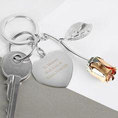 Personalised Diamante Heart Keyring-Free Laser Engraving-Birthdays maman Her