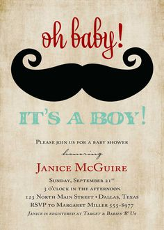 Baby boy shower invitation, oh baby it's a boy, digital, printable file (item 1277)