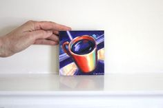 Evening Coffee Painting, Bright Mini Painting of a Coffee Cup on a 4x4 inch Panel by GalleryMusings, $32.00 USD