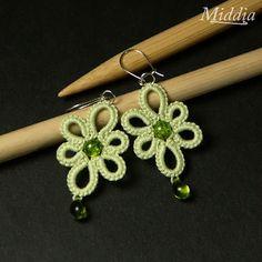 Tatting crochet: Earrings for spring