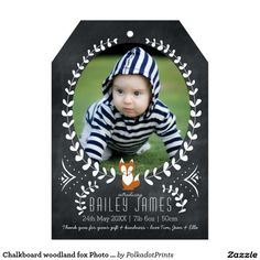Chalkboard woodland fox Photo Birth Announcement