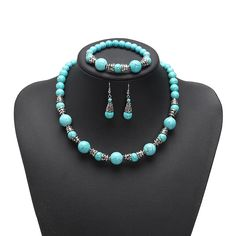[US$13.94] JASSY® Platinum Plated Turquoise Beads Retro Ethnic Fine Jewelry Set Best Gifts for Women #beads #best #ethnic #fine #gifts #jassy #jewelry #plated #platinum #retro #turquoise #women