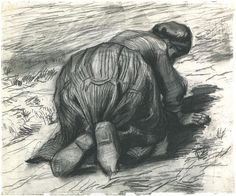 Vincent van Gogh Drawing, Black chalk Nuenen: July, 1885 Nasjonalgalleriet Oslo, Norway, Europe F: 1280, JH: 839 Image Only - Van Gogh: Peasant Woman, Kneeling, Seen from the Back