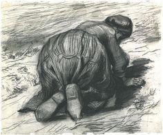 Vincent van Gogh Drawing, Black chalk Nuenen: July, 1885 Nasjonalgalleriet Oslo, Norway, Europe F: 1280, JH: 839 Image Only - Van Gogh: Peasant Woman, Kneeling, Seen from the Back
