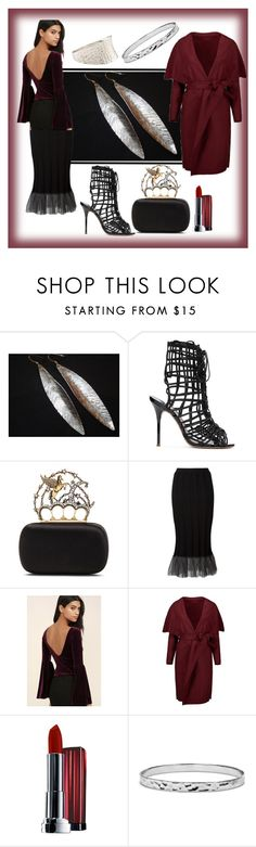 """""""Untitled #681"""" by bamagirl0320 ❤ liked on Polyvore featuring Sophia Webster, Alexander McQueen, Comme des Garçons, LULUS, Maybelline, Blue Nile and Accessorize"""