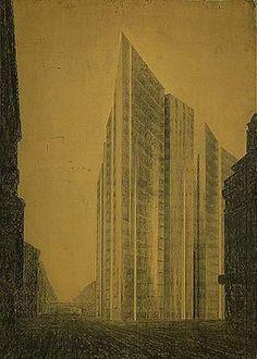 DE, Berlin, Friedrichstrasse skyscraper. Architect Mies van der Rohe, 1919.