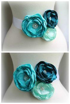 Bridal Floral Sash Belt - Teal Turquoise Aqua Tiffany Blue - Crystal Rhinestone Pearl - Bridesmaids Sashes - Romantic Wedding - Many Colors