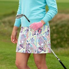 53212a70186e2a Golfino printed golf skirt in medium length with paisley pattern from the  new golf collection.