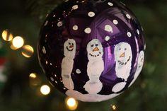 snowman hand print ornament