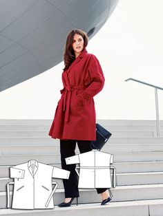 Board Meeting: 8 New Plus Size Patterns – Sewing Blog   BurdaStyle.com     Coat with Slash Pockets 12/2013 #131
