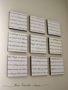 Idea for Bedroom.. Lyrics to wedding song
