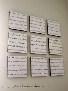 Idea for Bedroom.. Lyrics to wedding song