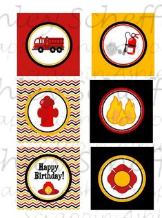 Firefighter. Fire truck. Printable. Cupcake Toppers. Printable Cupcake Toppers. Cupcake Picks. Instant Download. PDF file. on Etsy, $8.00