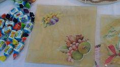 Piatto in vetro quadrato grande con frutta