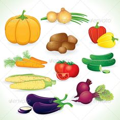 Fresh Vegetables Clip Art | Graphic River Vector Clip Art of Vegetables Vectors - Characters ...