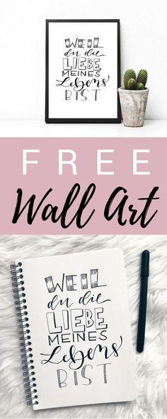 Free Lettering | Weil du die Liebe meines Lebens bist | Kostenloses Poster | Valentinstag | Geschenk | Zum Ausdrucken