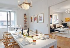 scandanavian dining room and living room