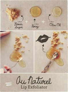 DIY Au Naturel Lip Exfoliator using brown sugar, honey, and olive oil. #Beauty #Lips