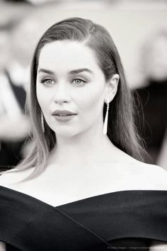 In This Photo: Emilia Clarke Image converted from color to B/W). Actress Emilia Clarke attends the 21st Annual Screen Actors Guild Awards at The Shrine Auditorium on January 25, 2015 in Los Angeles,California.