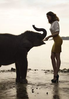 Samantha Gradoville with an elephant in Pop Magazine photographed by Sean and Seng