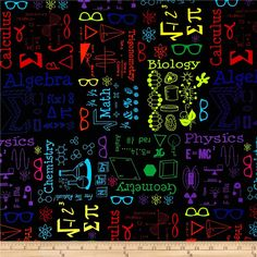 Geekery Scientifically Speaking Multi Mavro Fabric By The Yard Sensory Blanket, Weighted Blanket, Buddy Holly Glasses, Find Us On Facebook, General Crafts, Calculus, Fabric Patterns, Chemistry, Fabric Design