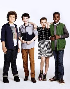 Gaten Matarazzo, Finn Wolfhard, Millie Bobby Brown and Caleb McLaughlin photographed by James Dimmock