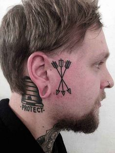 arrow tattoo by Philippe Fernandez. Not the placement, but I like the arrows. Face Tattoos For Men, Hand Tattoos, Small Face Tattoos, Neue Tattoos, Body Tattoos, Face Tats, Mens Arrow Tattoo, Arrow Tattoos, Unalome Tattoo