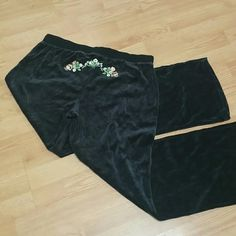 Velour lounge pants NWOT in a grayish navy color, pretty embroidery, super soft and comfy. Tragic Soda Pants Track Pants & Joggers