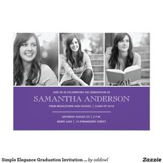 Simple Elegance Graduation Invitation - Purple