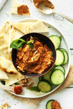 Savory eggplant dip with smoked paprika, roasted garlic, and spicy harissa paste. A healthy, flavorful dip or side dish.