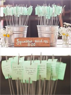Put sparklers in tin painting cans filled with sand for your sparklers for send off