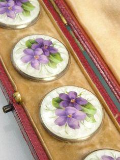 Beautiful Sterling Silver Enamel Art Nouveau Dress Buttons ~ H Levinger in a box.