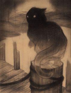 "Cats in Art and Illustration: Sam Wolfe Connelly - ""The Docks"" Art And Illustration, Illustrations, Gatos Cat, Spoke Art, Photo Chat, Inspiration Art, Oeuvre D'art, Crazy Cats, Dark Art"