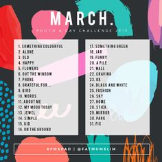 March Photo A Day Challenge 2019 Photo Challenge Instagram, March Photo Challenge, 30 Days Photo Challenge, Instagram Posts, Challenge Ideas, Instagram Games, Instagram Ideas, Photography Challenge, Photography Projects