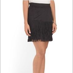 """Faux suede fringe skirt Faux suede fringe skirt.  Measures 19"""" long.  Fabric provides stretch.  Polyester/spandex.  Size 4.  NWT For Cynthia Skirts"""