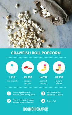 Southern-lovin' Boom for your Boom! Healthy Popcorn, Popcorn Recipes, Sweets Recipes, Just Desserts, Snack Recipes, Ocean Food, Healthy Meals, Healthy Recipes, Seafood Boil