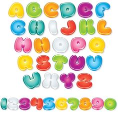 Buy Glossy Cartoon Font by PILart on GraphicRiver. Set of Isolated Letters and Numbers for Your Design - vector illustration, only simply linear an. Fonte Alphabet, Abc Alphabet, Funny Cartoon Characters, Cartoon Font, Alphabet Templates, Bubble Letters, Graffiti Lettering, Christmas Design, Letters And Numbers