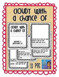 Cloudy with a chance writing activity to accompany weather ...