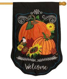 Welcome Fall Pumpkins Floral Double Applique House Flag