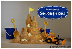 How to Build a Sandcastle Cake Tutorial  :http://pagingfunmums.com/2014/03/28/how-to-build-a-sandcastle-cake-tutorial/