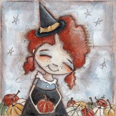 Original Mixed Media Halloween Painting  6 x 6 on flat by DUDADAZE ©dianeduda/dudadaze