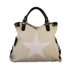 mynewbag.de - #IO.IO.MIO. Ital Damentasche Leder Canvas Mix großer #Shopper #Stern hell beige